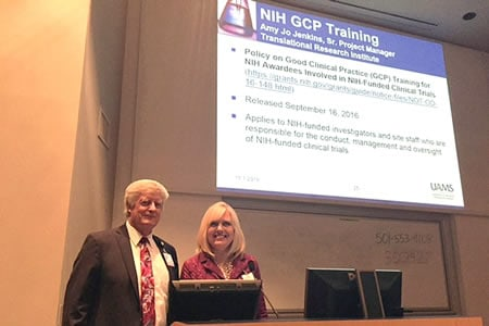 Amy Jo Jenkins, with Lawrence Cornett, Ph.D., presented about the GCP training requirement during the monthly RESIN meeting.