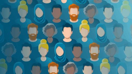 Illustration showing diverse group