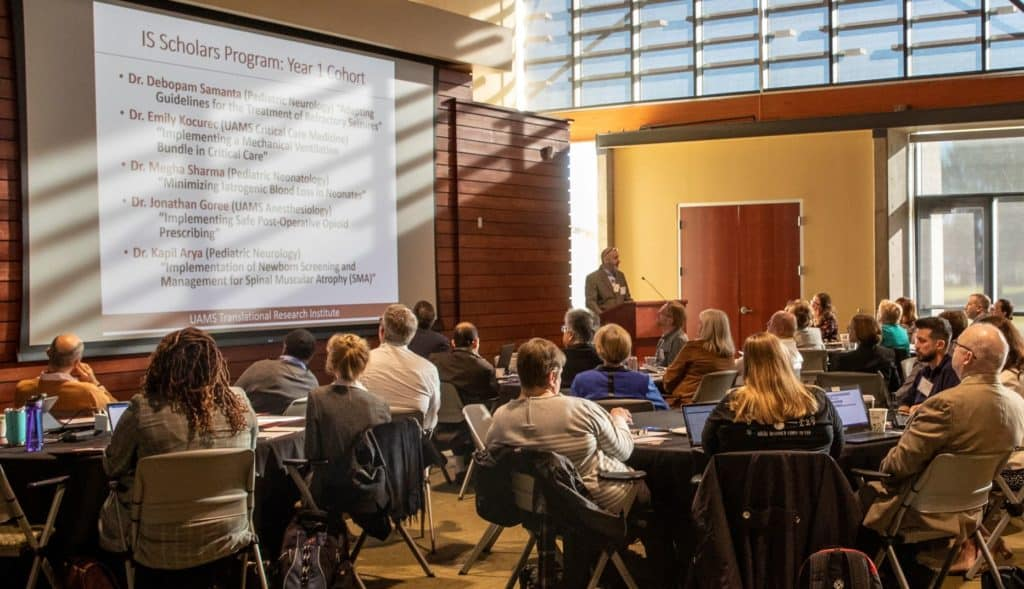 Geoffrey Curran, Ph.D., who leads the Implementation Science program, talks about plans for the program in this 2019 file photo of a TRI planning retreat.