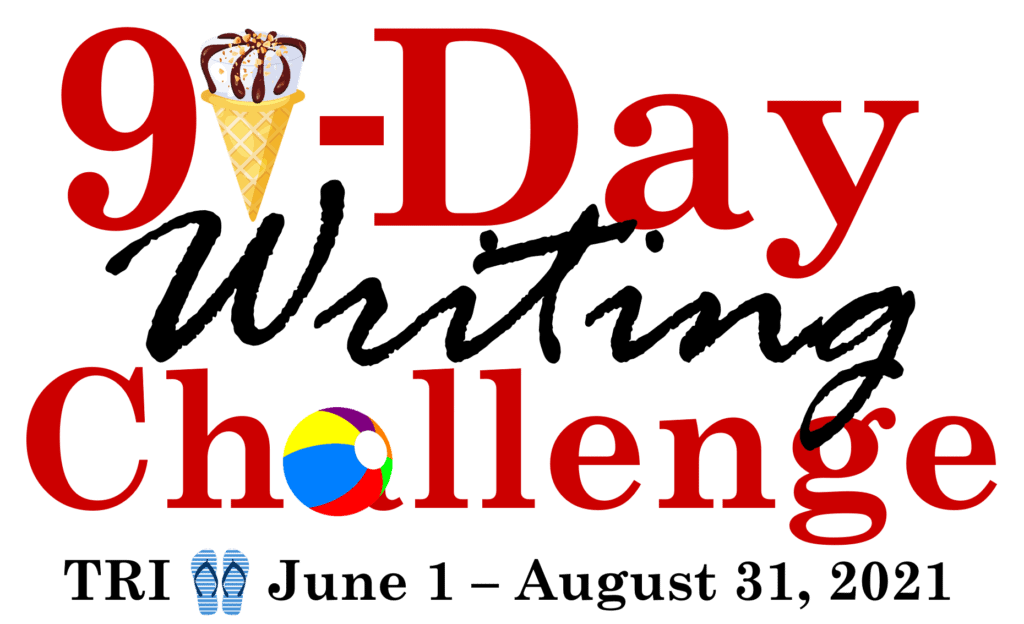 Image that says 91-day writing challenge
